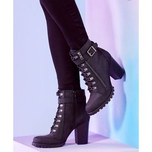 Black Pracida Lace Up Ankle Booties